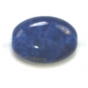Glass Bead 12x9mm Flat Oval Lapis Matrix Strung